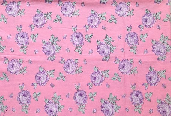 Pink & Purple Shabby Roses Fabric Vintage Cotton by PeppersHouse