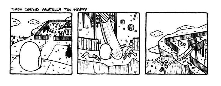 Pena The Unholy - They Sound Awfully Too Happy  (c) Teemu Seuranen / www.facebook.com/PenaTheUnholy  #penguin #animal #comic #comics #funny #cute #pena #the #unholy