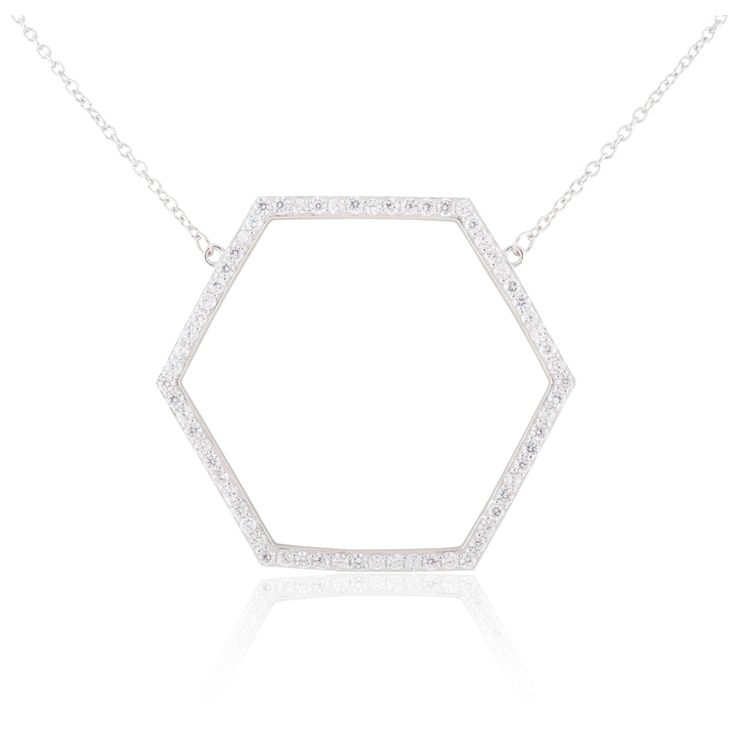 Rhodium-plated Sterling Silver Cubic Zirconia 18-inch Open Hexagon Necklace