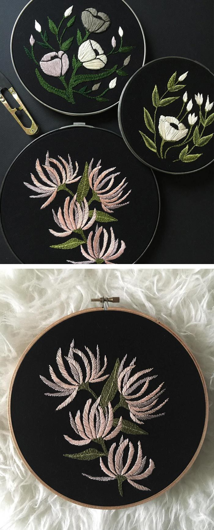 Embroidered hoop art by Tusk and Cardinal // embroidery