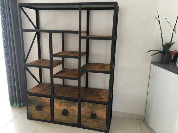 meuble industriel bibliotheque casier