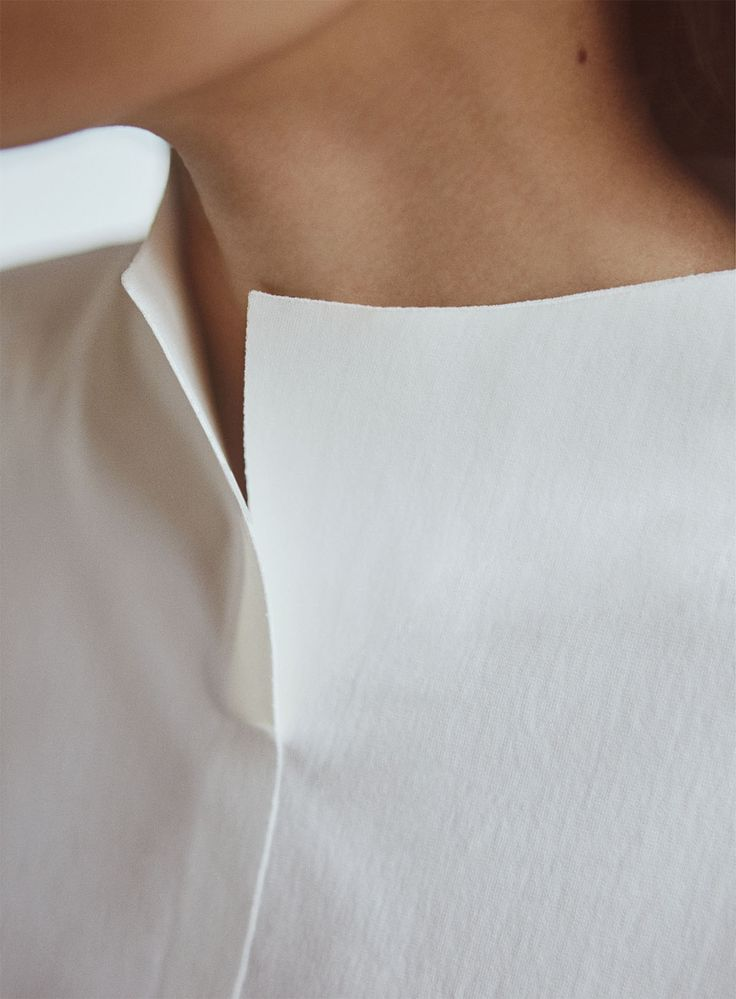 Simplicity - white collarless shirt; contemporary minimal fashion details // COS