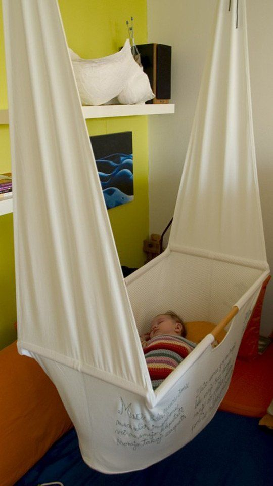 The internet is full of pretty pictures isn't it? This one made me stop in my tracks as I double plus love the idea of making this hanging cradle for a friend as I have several with recent additions to their family. Do you like the idea of a baby trapeze (joking)? Or does this set up seem a little too circus-y for you?