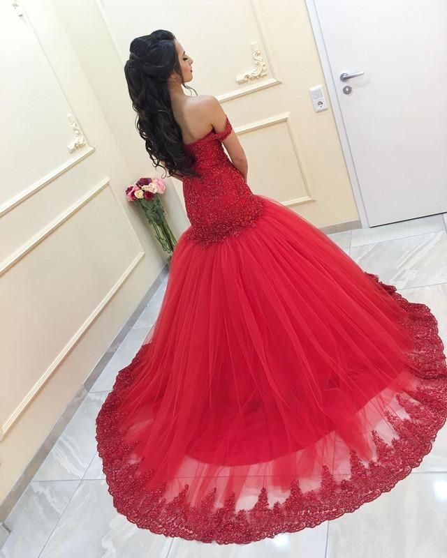 dad3e6da5e95 Beaded Lace Mermaid Evening Dress Off Shoulder Prom Gowns in 2019 ...