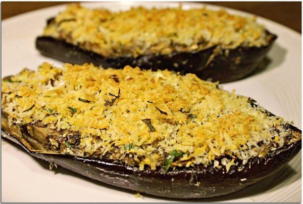 auberginen zubereiten pilze geriebener käse