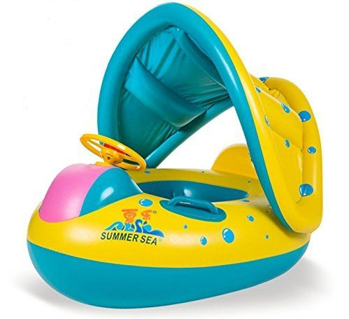 Baby pool boat with canopy