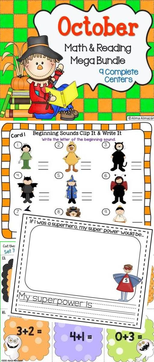October Reading and Math Bundle-9 Complete centers kids will love. Super cute clip art from the best artists! Soon to come in Spanish! Come check out the preview! Created by Alma Almazan