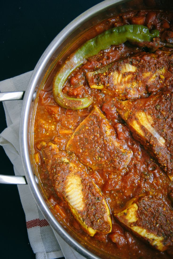 Spicy Moroccan Fish in a Tomato Sauce. Recipe called for tilapia but used flounder. Any mild fish would probably work. Added some fresh grated ginger. Healthy with great, complex flavors. Will make again. 4/4/16