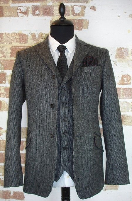 3 Piece Grey Herringbone Tweed Wedding Suit