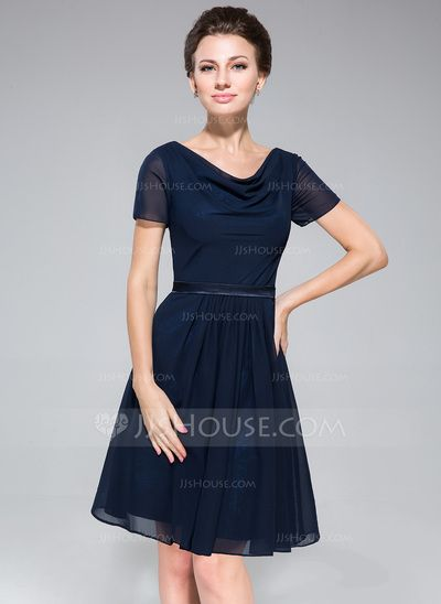 Bridesmaid Dresses - $67.49 - A-Line/Princess Cowl Neck Knee-Length Chiffon Charmeuse Bridesmaid Dress With Ruffle (007050080) http://jjshouse.com/A-Line-Princess-Cowl-Neck-Knee-Length-Chiffon-Charmeuse-Bridesmaid-Dress-With-Ruffle-007050080-g50080