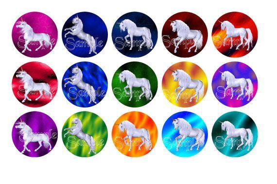 Digital Download  Unicorns 2 Bottle Cap by DesignsByDownload, $1.50