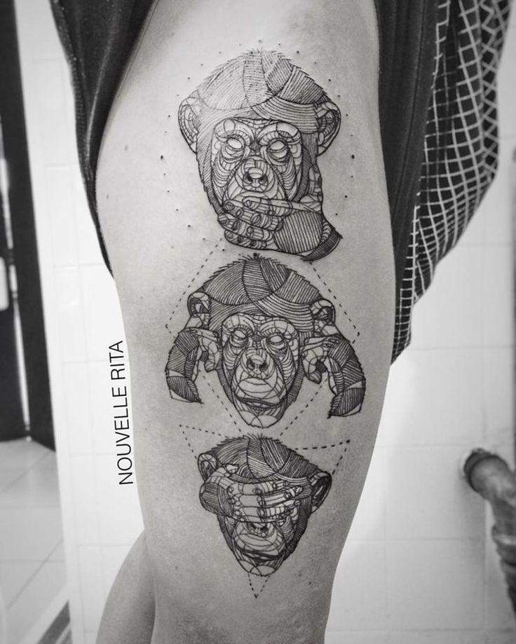 dreiteiliges tattoo aus einem schimpansen der grimassen macht amazing tattoos pinterest. Black Bedroom Furniture Sets. Home Design Ideas