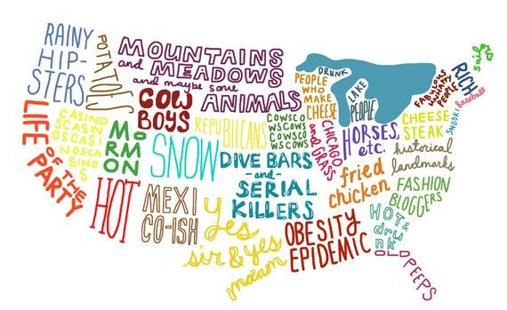 an illustration of the United States, based on silly stereotypes through the eyes of a Californian