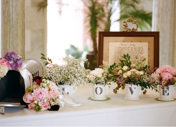 LOVE!  @Meredith Commender could we use the mailbox for cards,  put a pic from the engagement in the frame, and (yes) use bigger mugs for the flowers?!  I really like it!