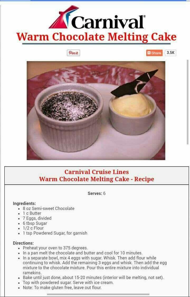 Carnival Cruise Famous Warm Chocolate Melting Cake - OMGosh!!