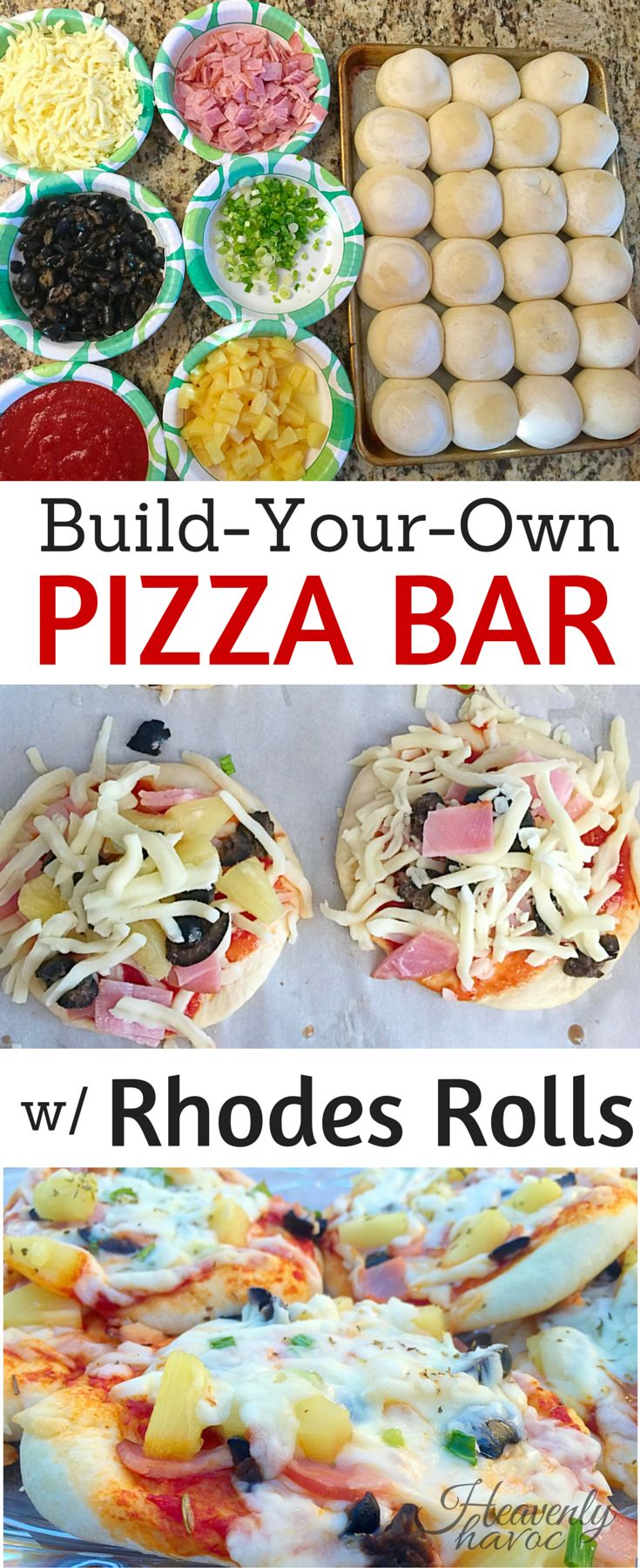 Build your own pizza bar has become a tradition at our house on friday nights. To make these even easier, we use Rhodes frozen dinner rolls!