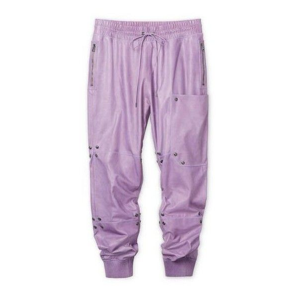 LEATHER JOGGING PANTS ($2,890) ❤ liked on Polyvore featuring pants, purple pants, real leather pants, leather jogging pants, purple leather pants and leather pants