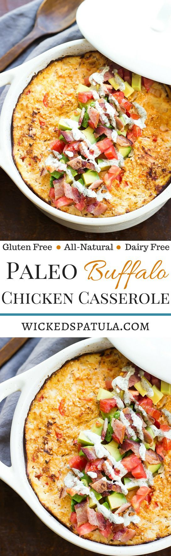 Paleo Buffalo Chicken Casserole - An easy weeknight healthy dinner! Who ever thought a low-carb casserole didn't exist?!   wickedspatula.com