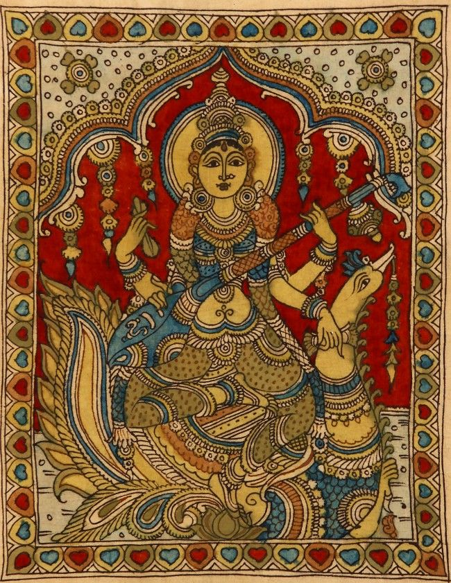 Goddess Saraswathi image on cotton fabric in Kalamkari style. The dyes used in this folk art are all vegetable dyes.