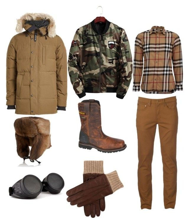 """""""Untitled #472"""" by lakishablack on Polyvore featuring Urban Pipeline, Burberry, Canada Goose, Caterpillar, Crown Cap, men's fashion and menswear"""