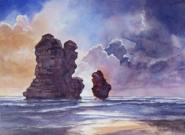 APRIL CHALLENGE WINNER 15 - The Twelve Apostles - Gill Farquharson. Some brilliant skies here and even where all parts of the picture didn't work for some, there was still lots to admire in various phases of many submissions. We opted this time for Gill Farquharson's wonderful expressive skyscape/seascape produced in watercolour.
