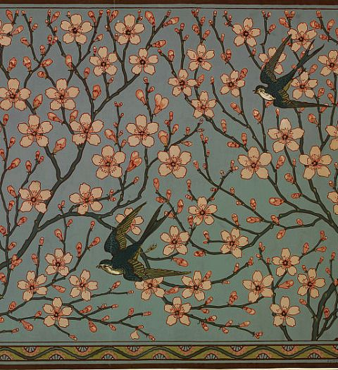 thisivyhouse:  lost-in-centuries-long-gone:   stilllifequickheart: Walter Crane Almond Blossom and Swallow 1878