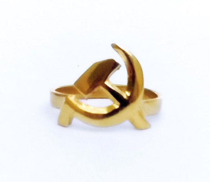 Biker Ring , Communist Symbol Ring , Hammer And Sickle Ring , USSR Biker Ring, Symbol Ring, Biker Jewelry, Goth Ring , Mens Ring , All Sizes by profoundgarden on Etsy