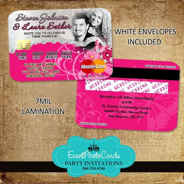 21 best images about credit card invitations on pinterest On wedding credit card