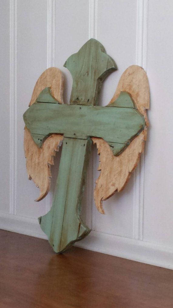 Hey, I found this really awesome Etsy listing at https://www.etsy.com/listing/261044167/large-wooden-angel-wing-cross-wooden