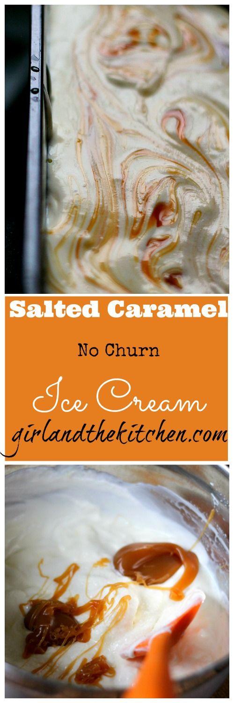 No Churn Salted Caramel Ice Cream (collage) So, make a vanilla ice cream and add caramel sauce AND blueberry sauce