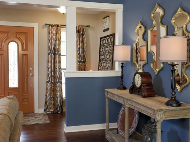 Popular makeovers from the HGTV hit series, Property Brothers -->  http://hg.tv/vyoyProperty Brothers, Wall Colors, Blue Walls, Entry Ways, Wall Mirrors, Living Room Wall, Colors Combinations, Painting Colors, Room Makeovers