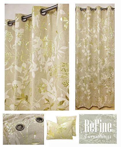 Luxurious Gold Leaf & Natural Eyelet Curtains in Harlequin Fusion Fabric 90
