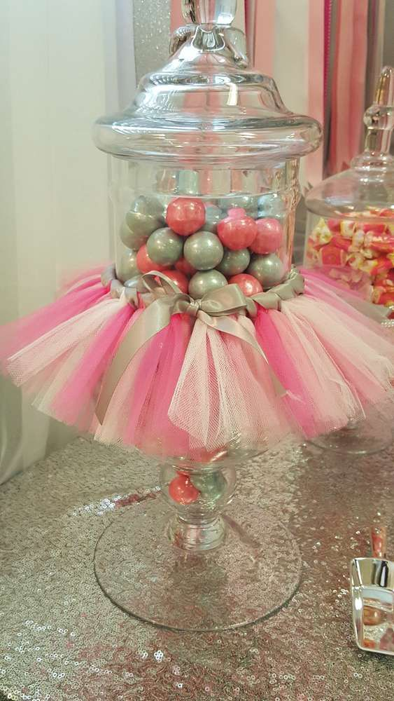 Tutus and tiaras baby shower party candy jars! See more party planning ideas at CatchMyParty.com!