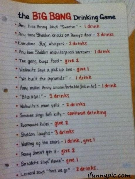 sounds funIdeas, Drinking Games, Bangs Drinks, Drinks Games, Big Bang Theory, Big Bangs Theory, Theory Drinks, Funny, Things