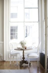 backless louis ghost chairs and restoration hardware table for a nook All White SoHo Loft