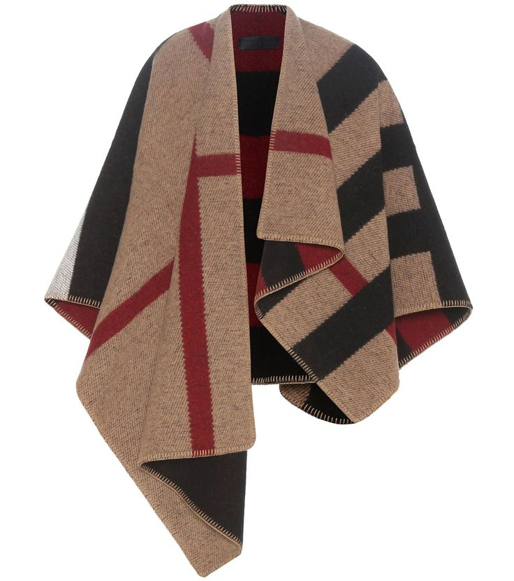 Burberry - Mega Check wool and cashmere cape - Get noticed for the right reasons with Burberry's Mega Check wool and cashmere cape. The designer's iconic check pattern is used for eye-catching effect in a reversible knitted design. Wear this textured beauty in place of a light jacket when the weather gets nippy. seen @ www.mytheresa.com