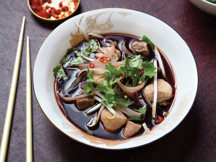 Thai Boat Noodle Soup (Kuaytiaw Reua) | This spicy, delicious Thai noodle soup is enhanced with a touch of crimson pig's blood.