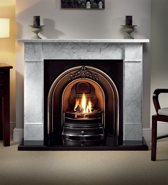 Brompton 56 inch Cararra Marble Fireplace With Cast Insert