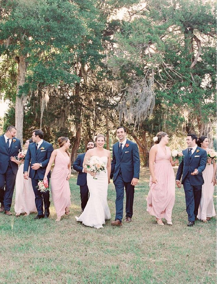 Blush And Navy Wedding Party Real Southern The Ribault Club