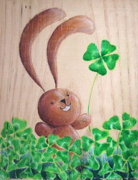 Lucky Ciacio! Bunny and Clover. Illustration on wood