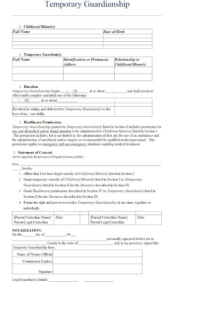 temporary custody letter template - temporary guardianship letter template sample books