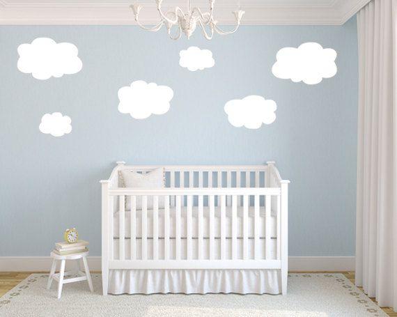 Nursery Cloud Wall Decals. 29.99, via Katazoon on Etsy. So cute! And gender neutral.