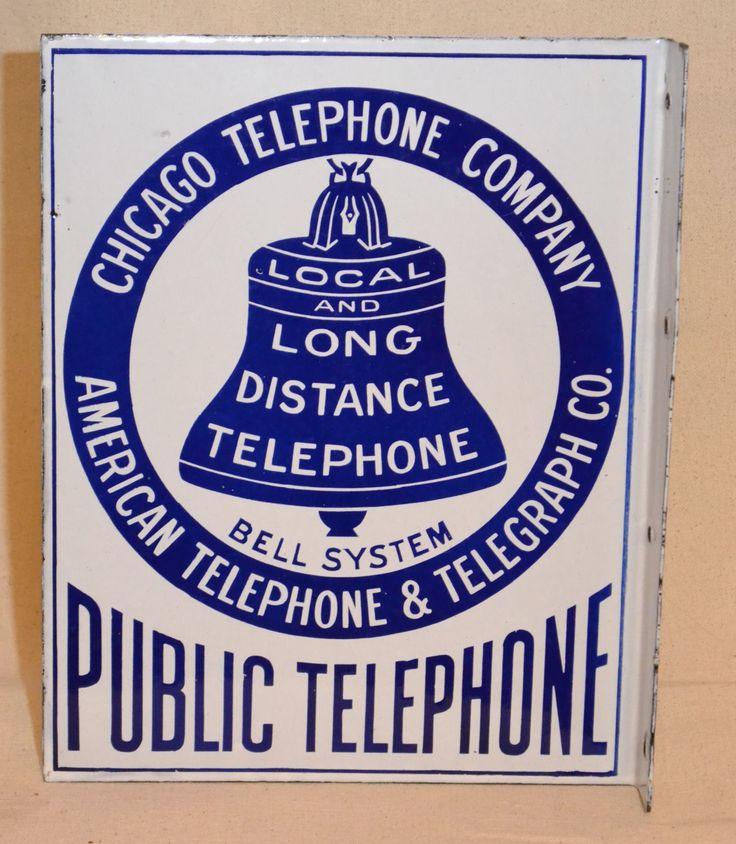 Chicago Telephone Company American Telephone Telegraph Co Porcelain Sign | eBay