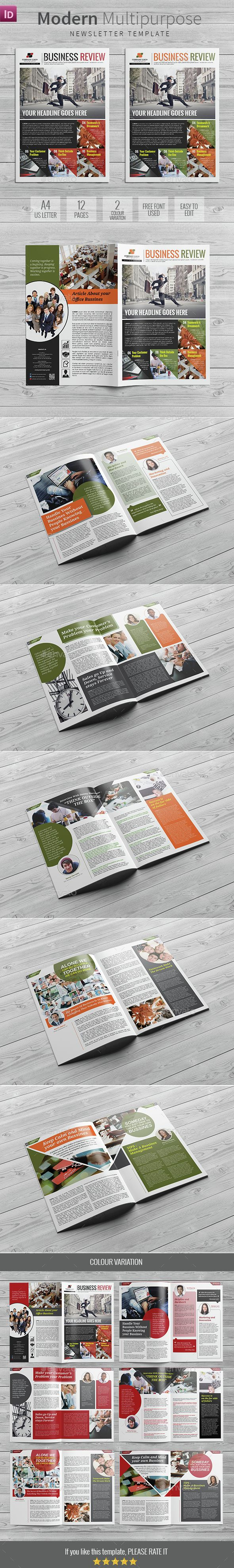 Modern Multipurpose Newsletter Template InDesign INDD. Download here…