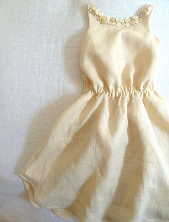 linen dress with vintage button collar by harriet & daughters on etsy
