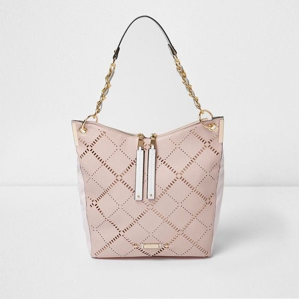 River Island Pink laser cut underarm slouchy bag (1,245 EGP) ❤ liked on Polyvore featuring bags, handbags, bags / purses, pink, shoppers / tote bags, women, pink tote bags, pink handbags, purse tote and pink tote handbags