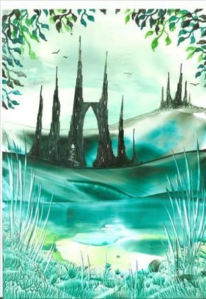 green forest castle encaustic art painting one of my own