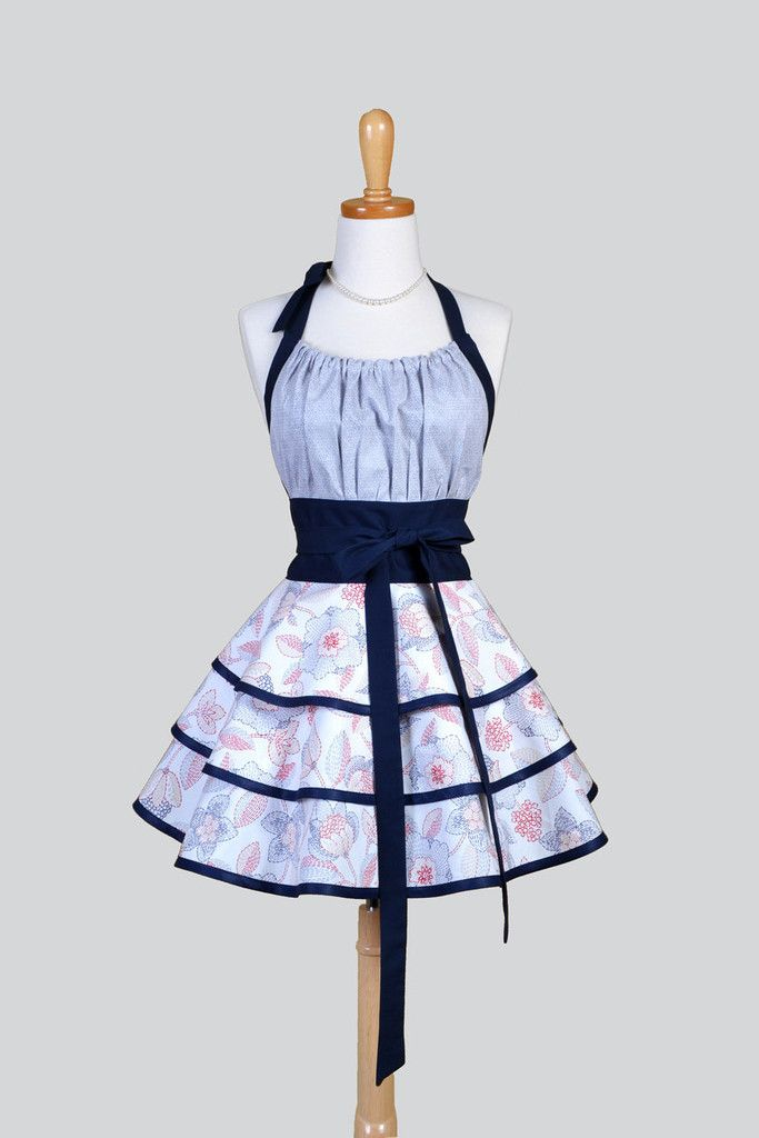 Flirty Chic - Nautical Navy and Red Stitched Flowers Cute Pinup Kitchen Apron - Creative Chics - 1
