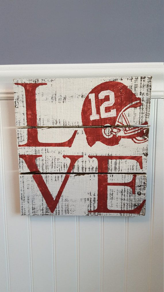 Hey, I found this really awesome Etsy listing at https://www.etsy.com/listing/266877942/love-football-sign-rustic-football-sign