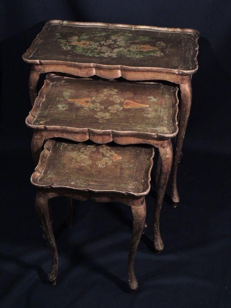 TRITTICO DI TAVOLINI LACCATI E DORATI in Arte e antiquariato, Arredamento d'antiquariato, Tavolini | eBay